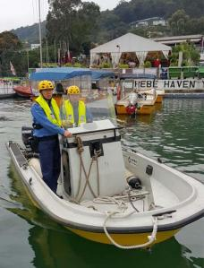 Fire speedboat moored at Hebe Haven