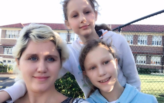 Irina with her daughters, Sveta and Yulia