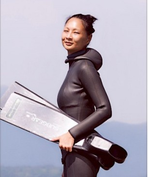 Prudence Lau, holder of three Hong Kong free diving records. Credit: HKFDA