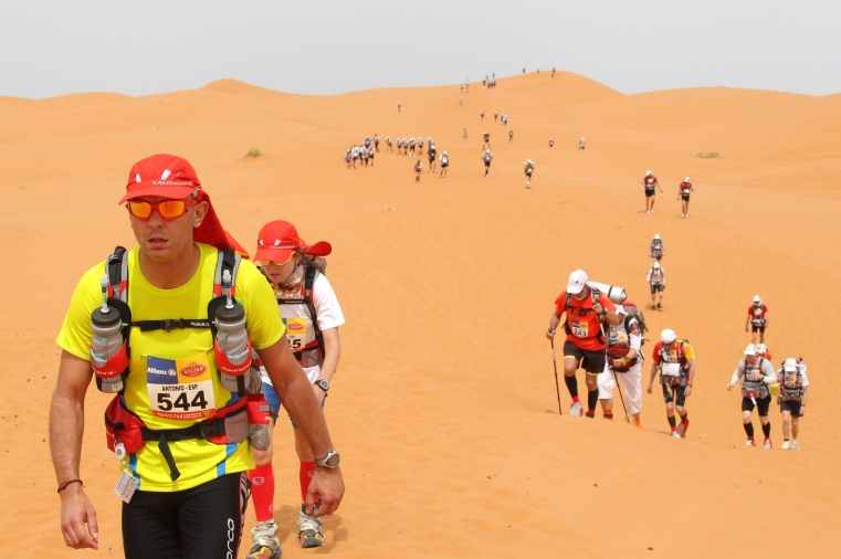 Competitors cross the dunes of Merzouga,